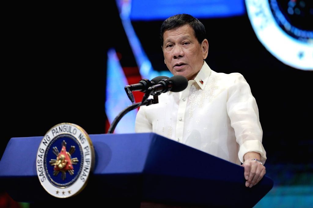 MANILA, Aug. 8, 2017 - Philippine President Rodrigo Duterte speaks during the grand celebration of the 50th anniversary of the founding of the Association of Southeast Asian Nations (ASEAN) in ...