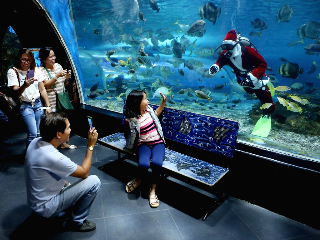 MANILA, Dec. 14, 2018 - A diver dressed in a Santa Claus costume greets visitors at the Manila Ocean Park in Manila, the Philippines, Dec. 13, 2018. The Christmas-themed activity served as a ...