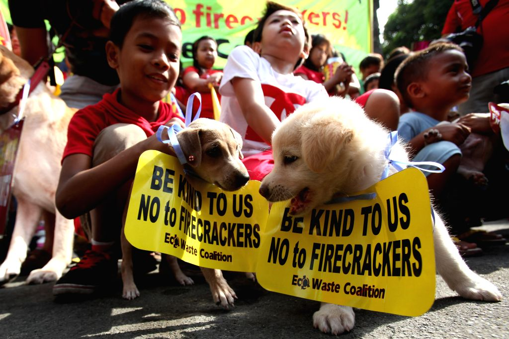 Dog owners bring their dogs to attend an anti-firecracker rally in Manila, the Philippines, Dec. 28, 2014. Members of animal rights groups and environmental groups ..