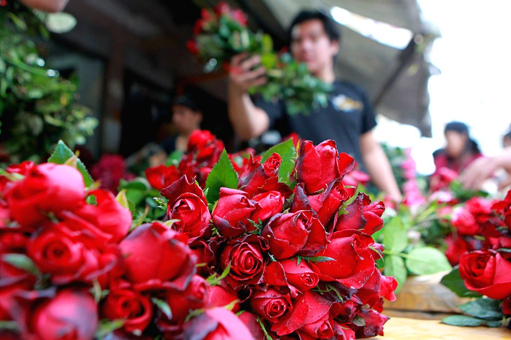 MANILA, Feb. 12, 2019 - People buy flowers for the upcoming Valentine's Day at a street of flower shops in Manila, the Philippines, Feb. 12, 2019.