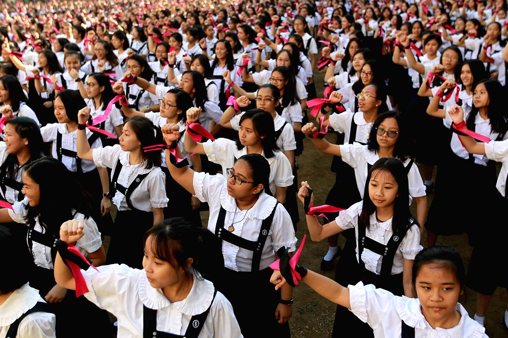 MANILA, Feb. 14, 2019 - Students dance as they participate in the One Billion Rising global campaign to end violence against women and children, during the Valentine's Day celebration at a school in ...