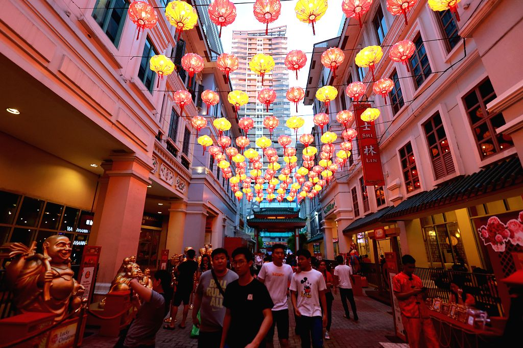 MANILA, Feb. 2, 2019 - Photo taken on Feb. 2, 2019 shows lantern decorations at the Chinatown in Manila, the Philippines. The Chinese Lunar New Year falls on Feb. 5 this year.
