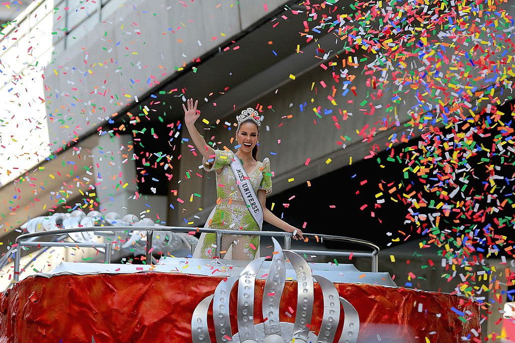MANILA, Feb. 21, 2019 - Confetti rains down on Miss Universe 2018 Catriona Gray as she waves to her fans during her grand homecoming parade in Manila, the Philippines, Feb. 21, 2019. Gray won the ...
