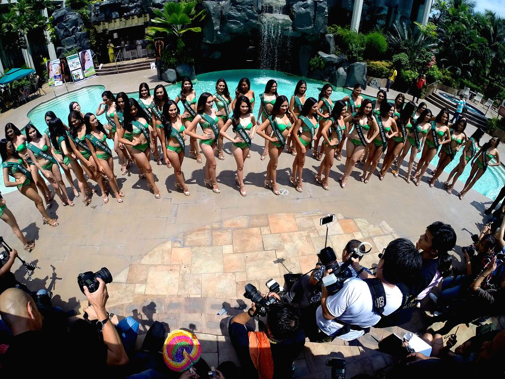 MANILA, July 5, 2017 - Candidates pose for photos during the media presentation of the Miss Philippines-Earth 2017 in Manila, the Philippines, July 5, 2017. A total of 40 candidates from various ...