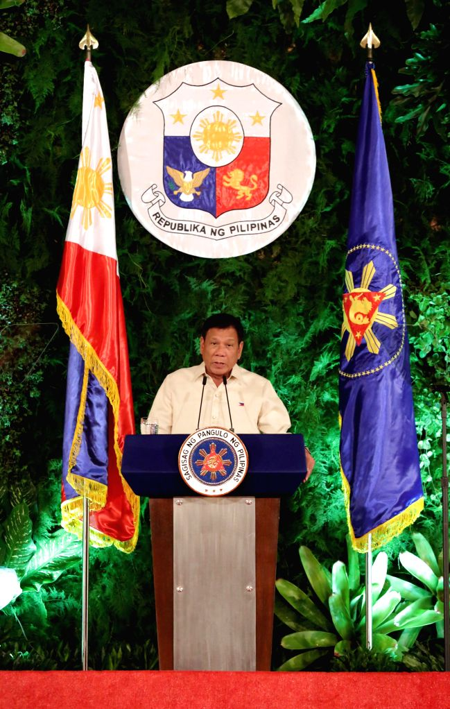 MANILA, June 30, 2016 - Rodrigo Duterte delivers his inaugural speech after taking oath at the Malacanang presidential palace in Manila, the Philippines, on June 30, 2016. Rodrigo Duterte was sworn ...