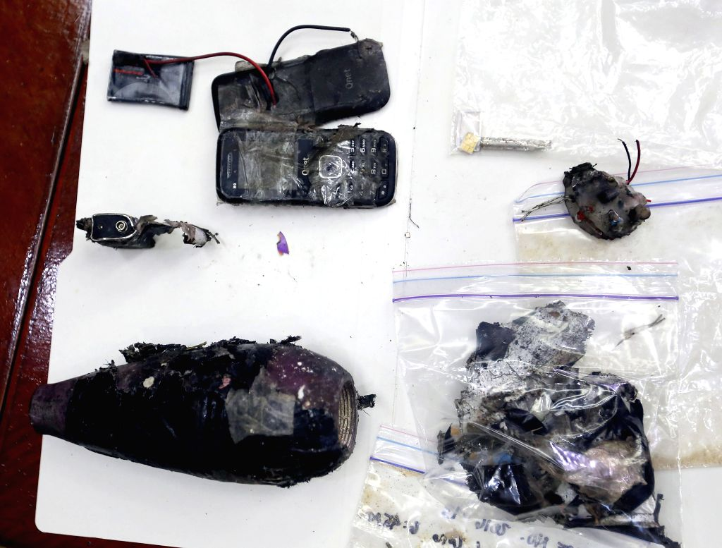 MANILA, Nov. 28, 2016 - Broken pieces of an improvised explosive device are shown by the Philippine National Police after it was found and detonated near the U.S. Embassy in Manila, the Philippines, ...