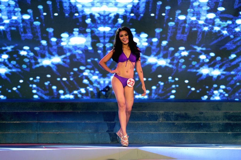 MANILA, Oct. 3, 2016 - A candidate walks in swimsuit during the 2016 Miss World Philippines' coronation night at Manila Hotel in Manila, the Philippines, Oct. 2, 2016. A total of 24 candidates vied ...