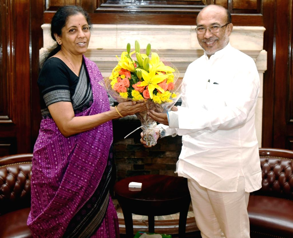 Manipur Chief Minister N. Biren Singh meets Union Finance and Corporate Affairs Minister Nirmala Sitharaman, in New Delhi on June 15, 2019. - N. Biren Singh