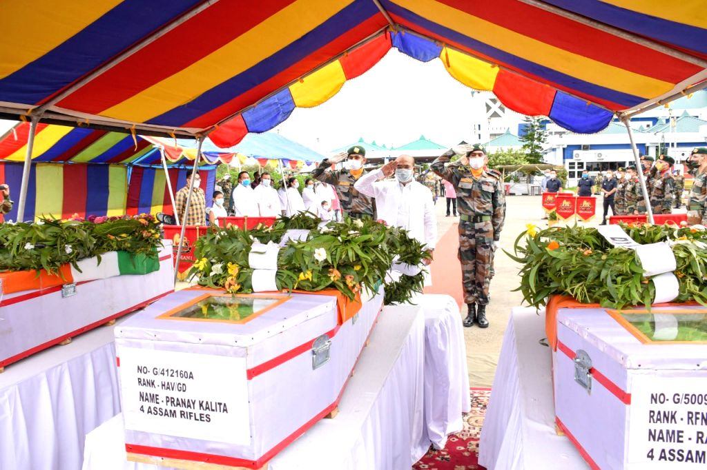 Manipur Chief Minister N . Biren Singh pays tributes to the three Assam Rifles soldiers killed and five injured in an ambush near India-Myanmar border at Chandel area in Manipur on Thursday, ... - Biren Singh