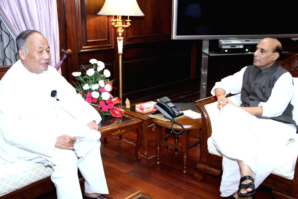 Manipur Chief Minister Okram Ibobi Singh calls on Union Home Minister Rajnath Singh in New Delhi on August 20, 2014. - Okram Ibobi Singh