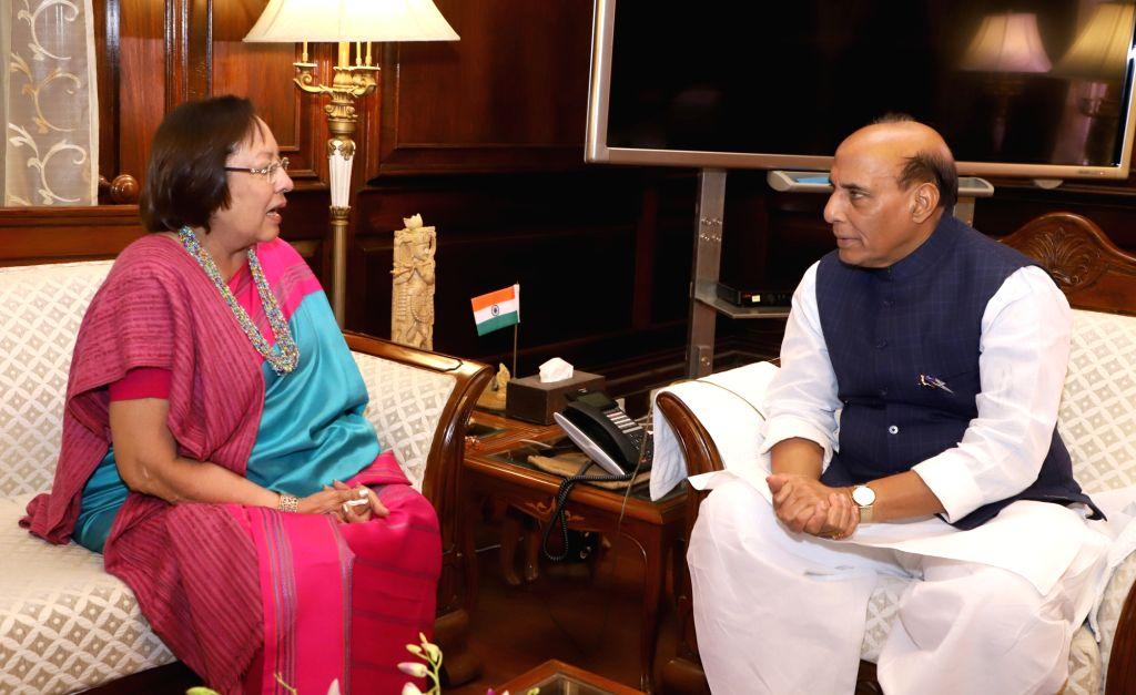 Manipur Governor Najma Heptulla calls on Union Home Minister Rajnath Singh in New Delhi on Feb 13, 2018. - Rajnath Singh and Najma Heptulla