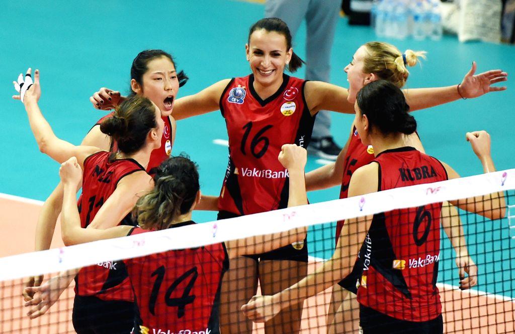 MANISA, Oct. 31, 2016 - Vakifbank's Zhu Ting (2nd L) celebrates with teammates during the Turkish Women Volleyball League match between Vakifbank and Seramiksan in Manisa, Turkey, Oct. 30, 2016. ...