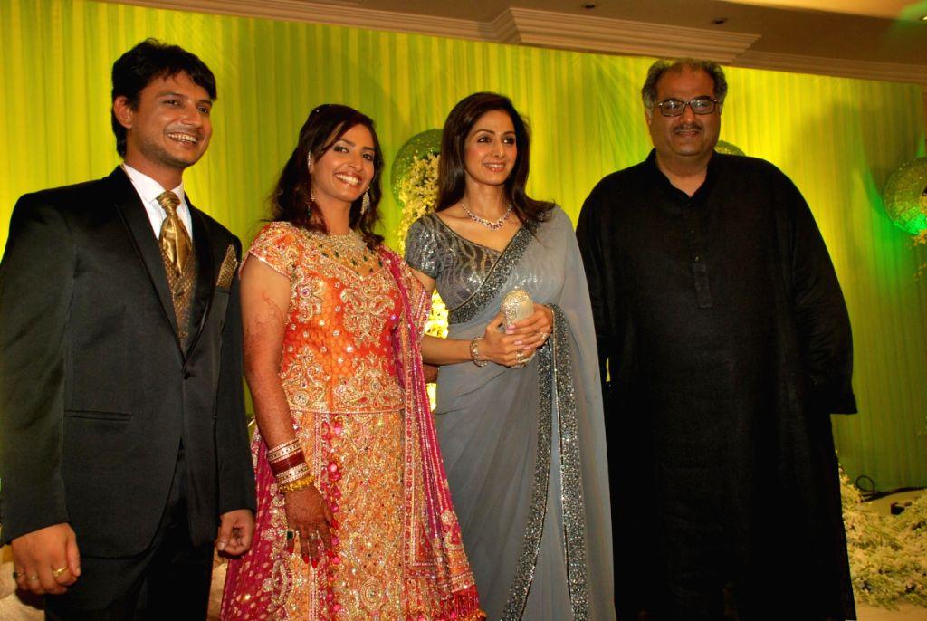 Manish, Payal, Sridevi and Boney at Payal Gidwani's wedding.