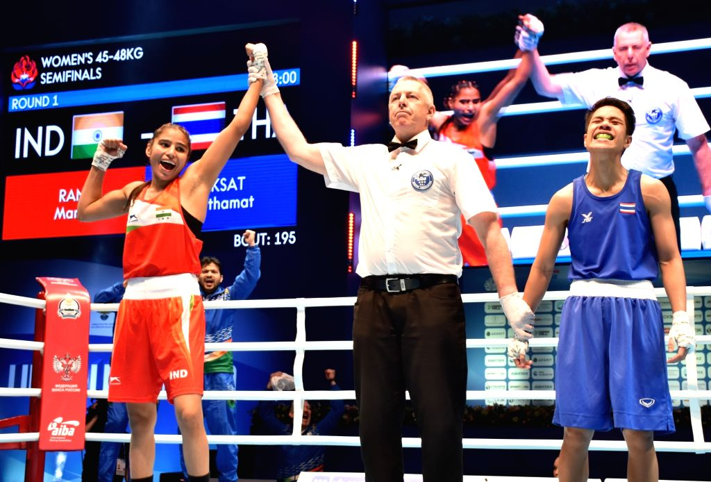 Manju Rani celebrates her semi final win as she is now a step away from the gold medal at the AIBA World Women Boxing Championships in Russia.