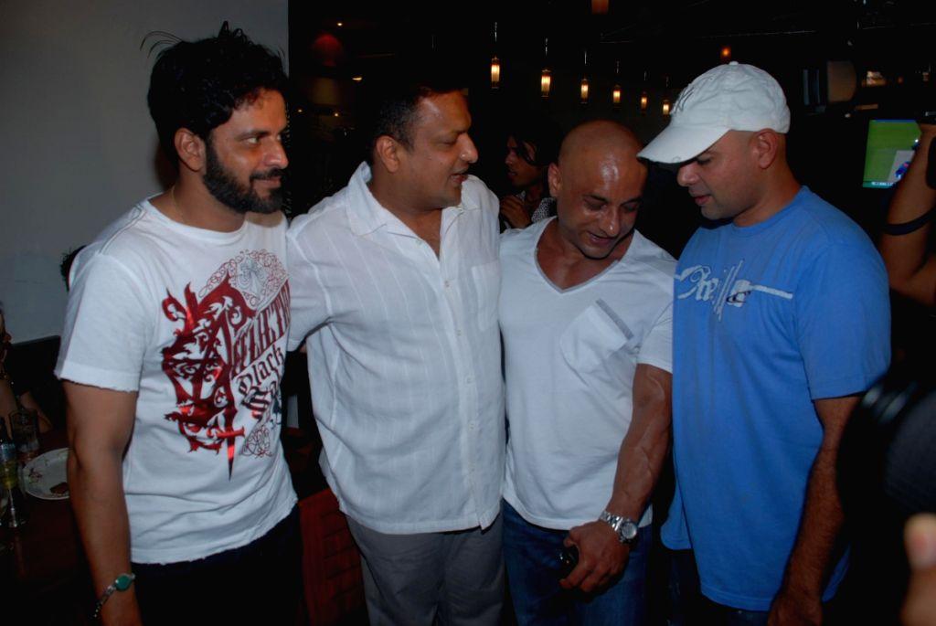 Manoj Bajpai with a beard at Mr india Sanjay Chaddha's bash at Derby Cafe.