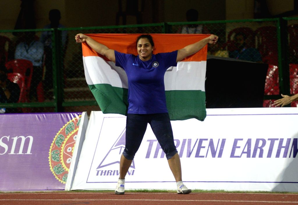 Manpreet Kaur who clinched gold medal for India in the women's shot put on the opening day of Asian Athletics Championship at Kalinga Stadium in Bhubaneswar on July 6, 2017. - Manpreet Kaur