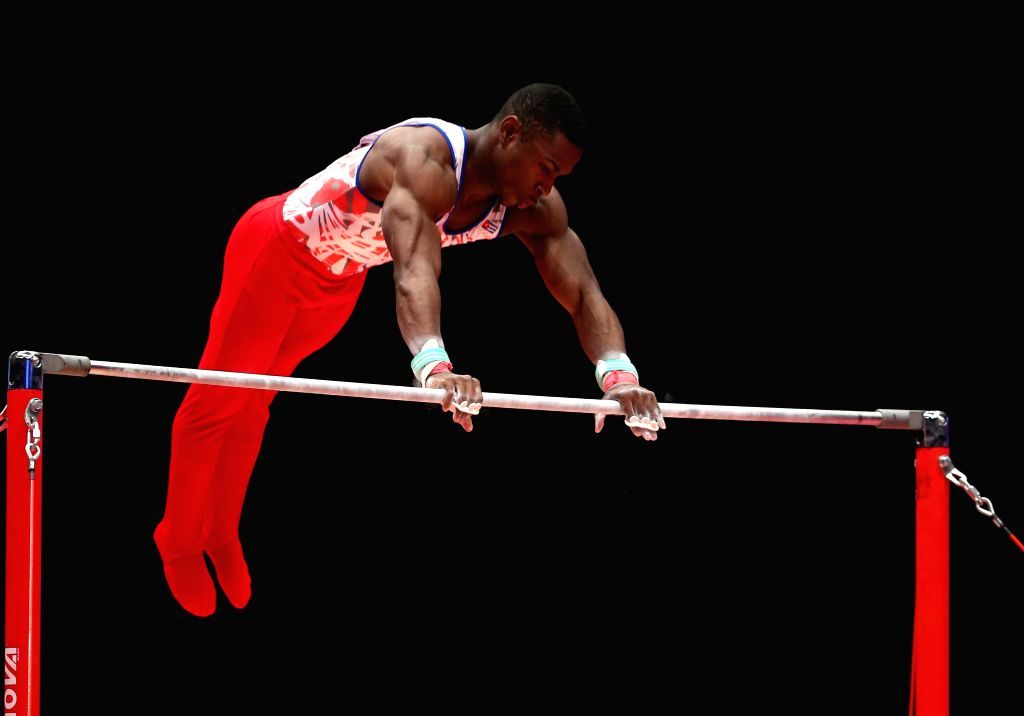 Manrique Larduet of Cuba competes during the Men's Horizontal Bar Final at the 46th World Artistic Gymnastics Championships at the SSE Hydro Arena in Glasgow, ...