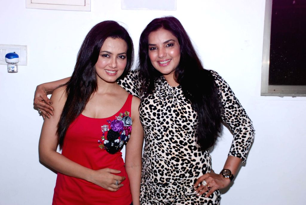 Mansi Pritam with actor Sana Khan during her birthday bash, in Mumbai, on August 13, 2014. - Sana Khan