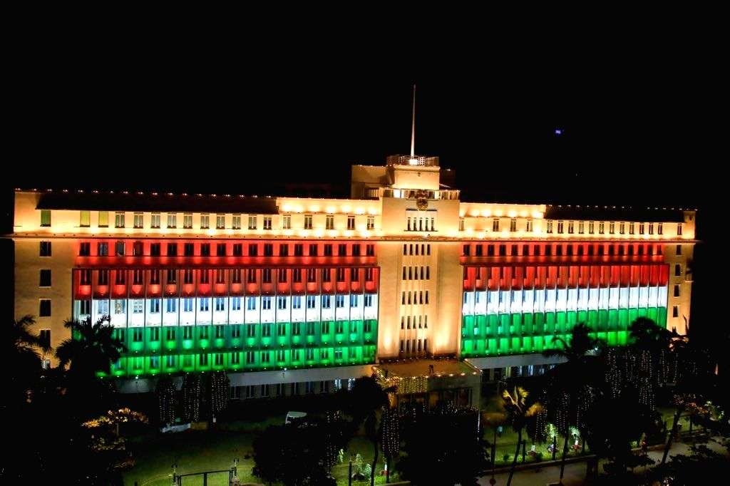 Mantralaya, the administrative headquarters of the state government of Maharashtra, illuminated in tricolor on the 71st Republic Day, in Mumbai on Jan 26, 2020.