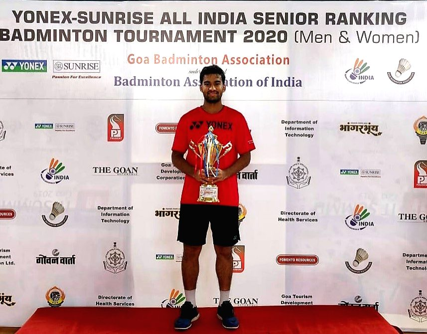Mapusa: Men's Singles winner Siril Verma with the trophy during the felicitation programme at the closing ceremony of Yonex-Sunrise All India Senior Ranking Tournament in Goa's Mapusa on Jan 19, 2020. (Photo: IANS) - Siril Verma