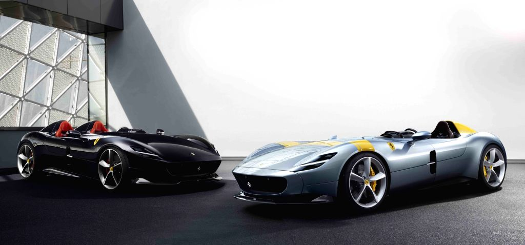 MARANELLO, Sept. 19, 2018 - Ferrari's new Monza SP1 (R) and Monza SP2 are seen in this file photo provided by Italian luxury automaker Ferrari on Sept. 18, 2018. Ferrari launched its two new car ...