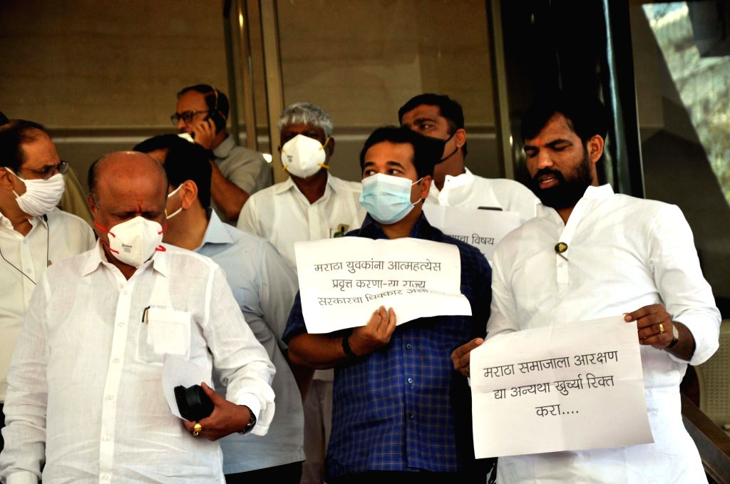 - Maratha Caste community reservation have Opposition party protest at Budget Assembly Session, VIdhan Bhavan in Mumbai on Friday March 05, 2021