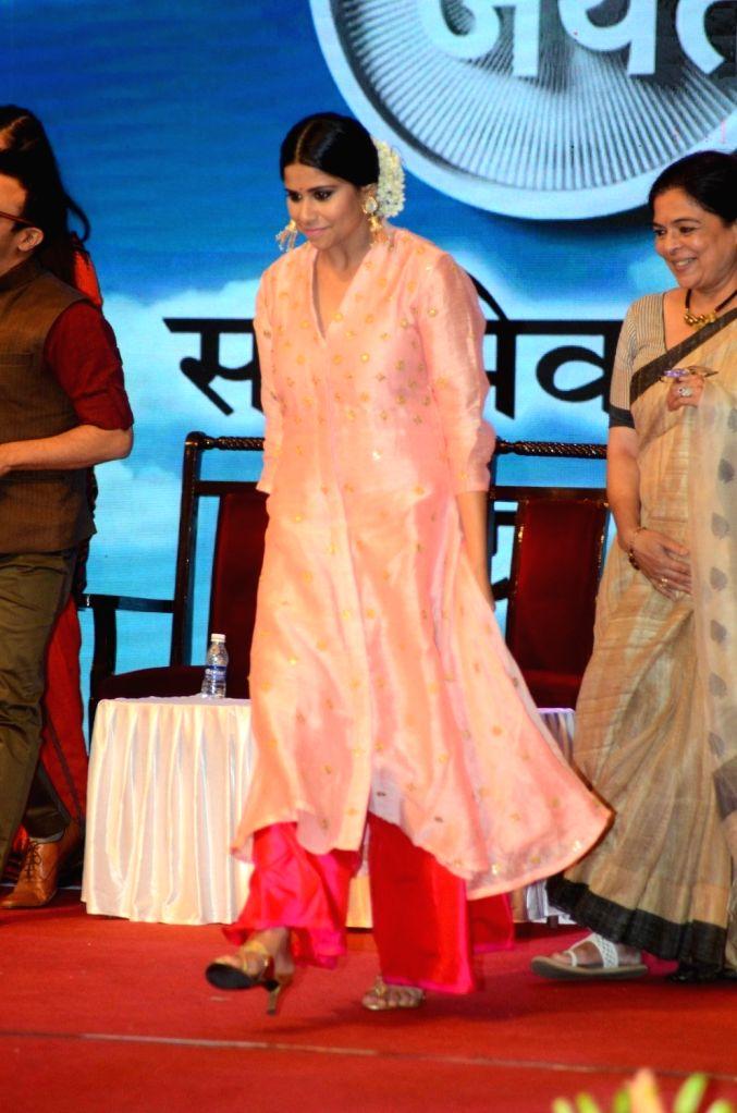 Marathi film actor Sai Tamhankar during The Satyamev Jayate Water Cup Awards 2016, in Mumbai, on Aug 15, 2016. - Sai Tamhankar