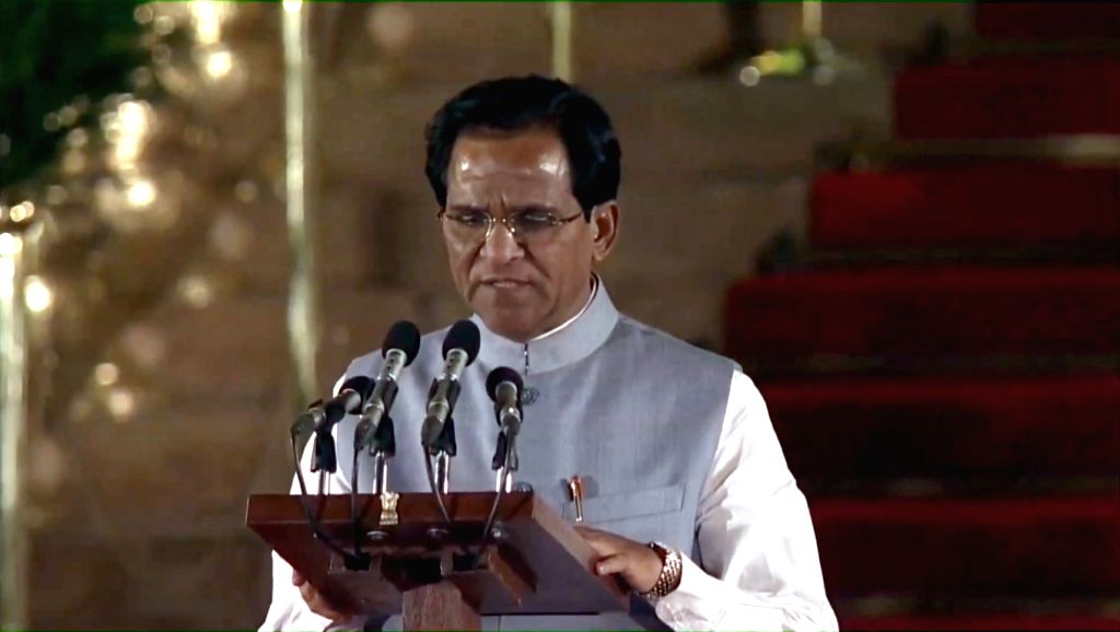 Marathwada BJP MP Danve Raosaheb Dadarao takes oath as Union Minister at a swearing-in ceremony at Rashtrapati Bhavan in New Delhi on May 30, 2019.