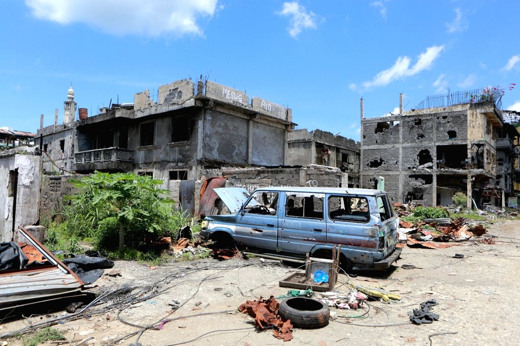 MARAWI CITY, May 22, 2018 - Photo taken on May 22, 2018 shows destroyed building in the war-torn Marawi City, the Philippines. The rehabilitation work in the former battle area in the war-torn Marawi ...