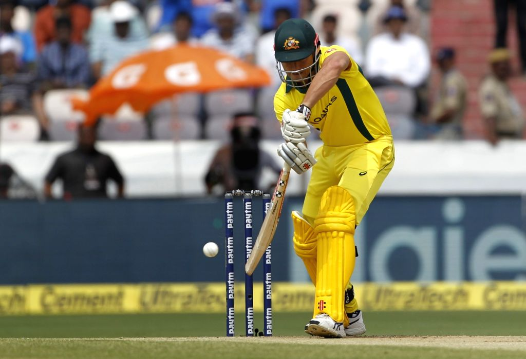 Marcus Stoinis in action during the first ODI match between India and Australia at Rajiv Gandhi International Stadium in Hyderabad on March 2, 2019.