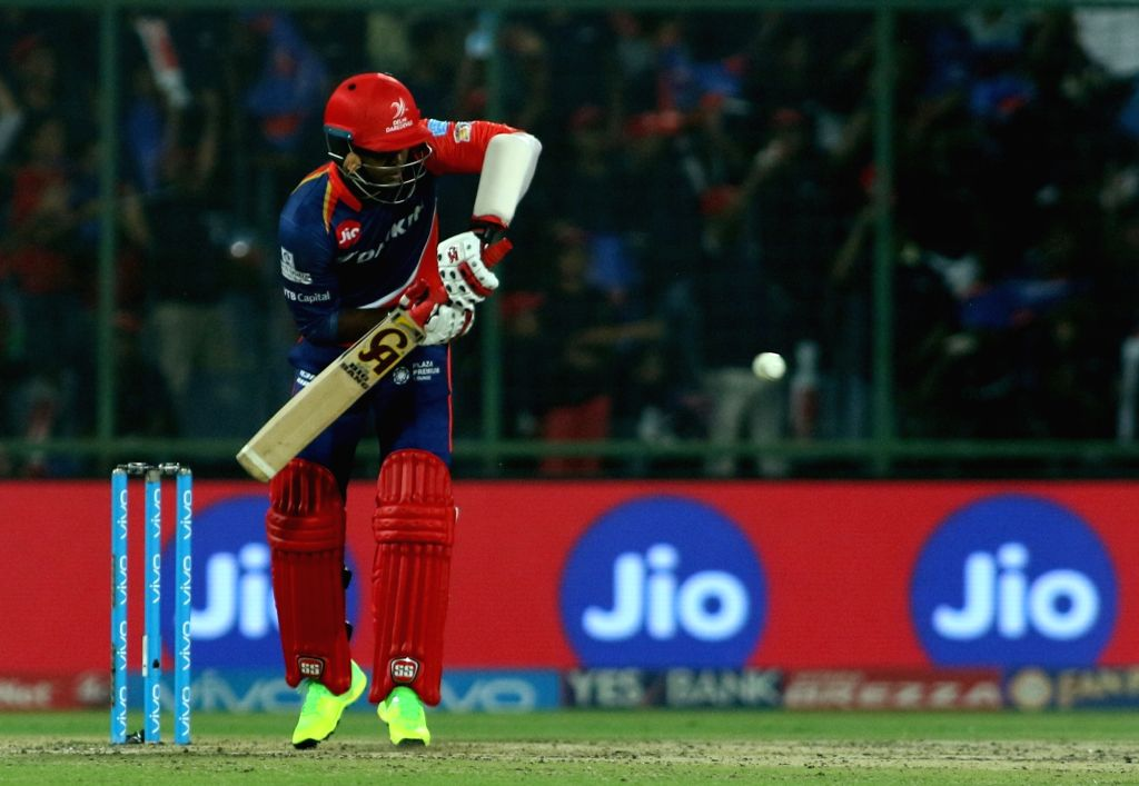 Marhon Samuels of the Delhi Daredevils bats during match between the Delhi Daredevils and the Rising Pune Supergiant held at the Feroz Shah Kotla Stadium in Delhi on May 12, 2017.