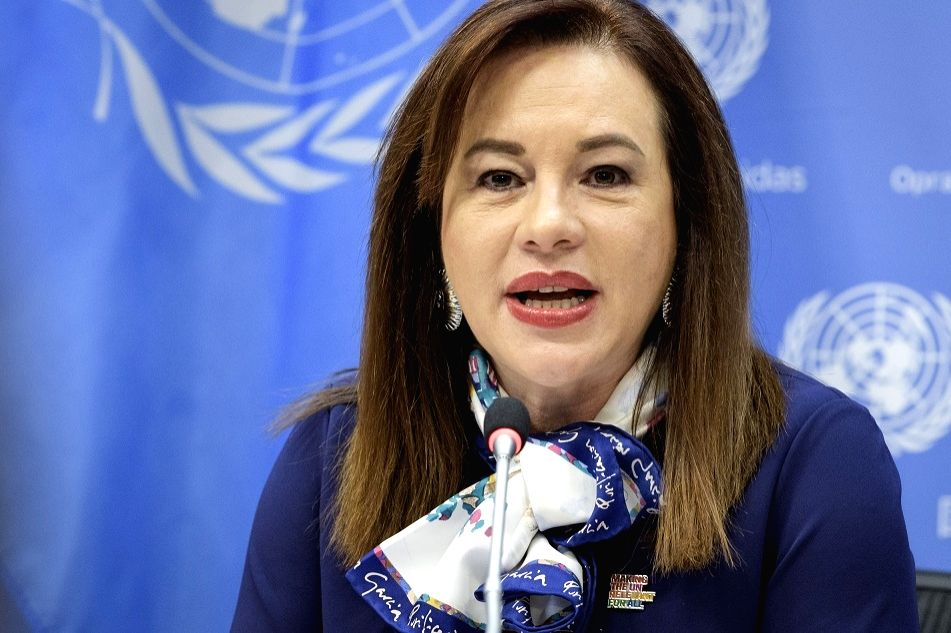 Maria Fernanda Espinosa, the president of the United Nations General Assembly, addresses a news conference on Friday, March 8, 2019, at the UN headquarters,