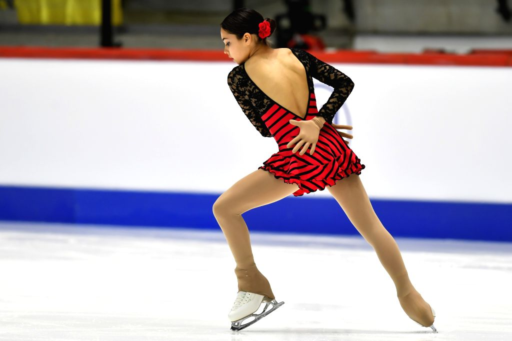 Marian Millares of Spain performs during the ladies' short program at the ISU World Junior Figure Skating Championships in Tallinn, Estonia, March 6, 2020.