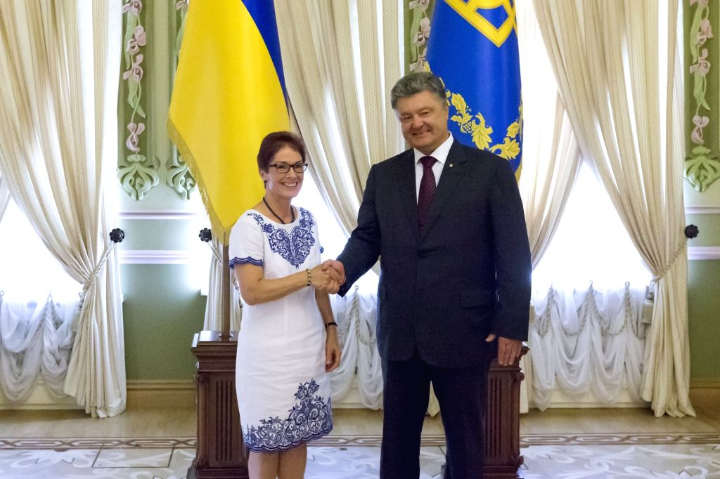 Marie Yovanovitch with former Ukraine President Petro Poroshenko when she took over as the United States ambassador to that country in 2016.