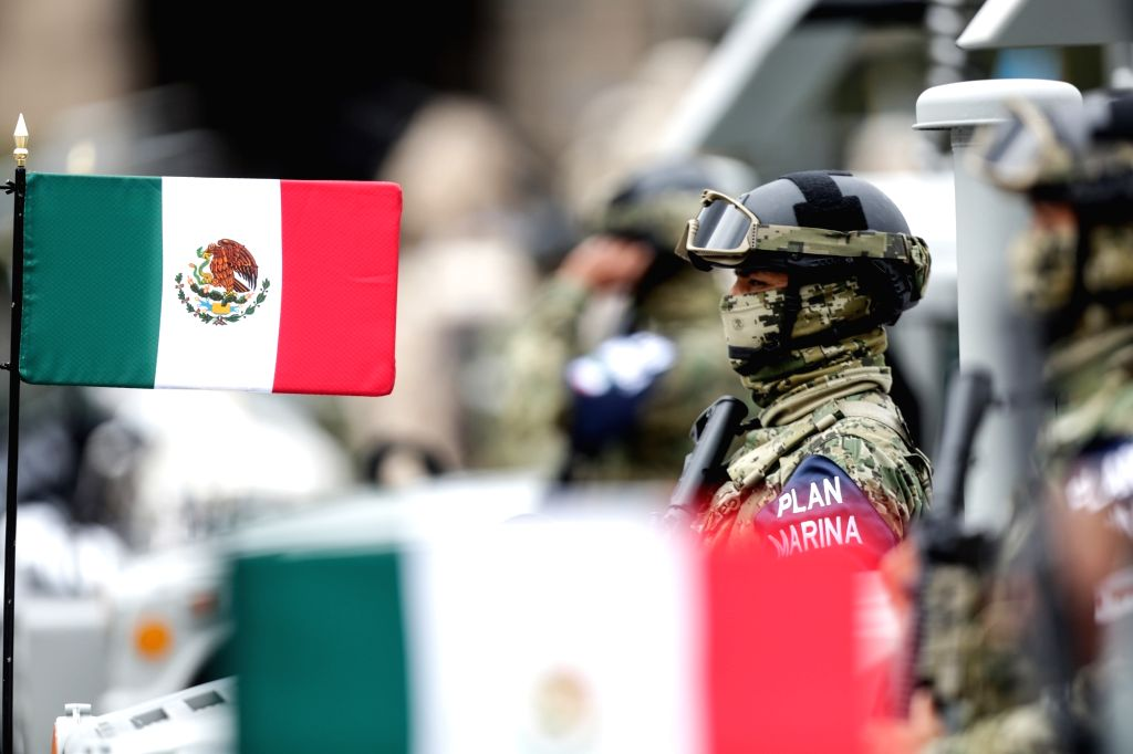 Marines attend Mexico's Independence Day military parade in Mexico City, capital of Mexico, Sept. 16, 2020.