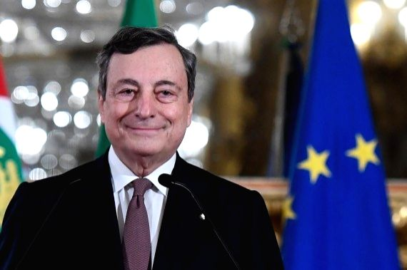 Mario Draghi addresses the media at the Quirinal Palace in Rome, Italy, Feb. 12, 2021. (Pool via Xinhua)