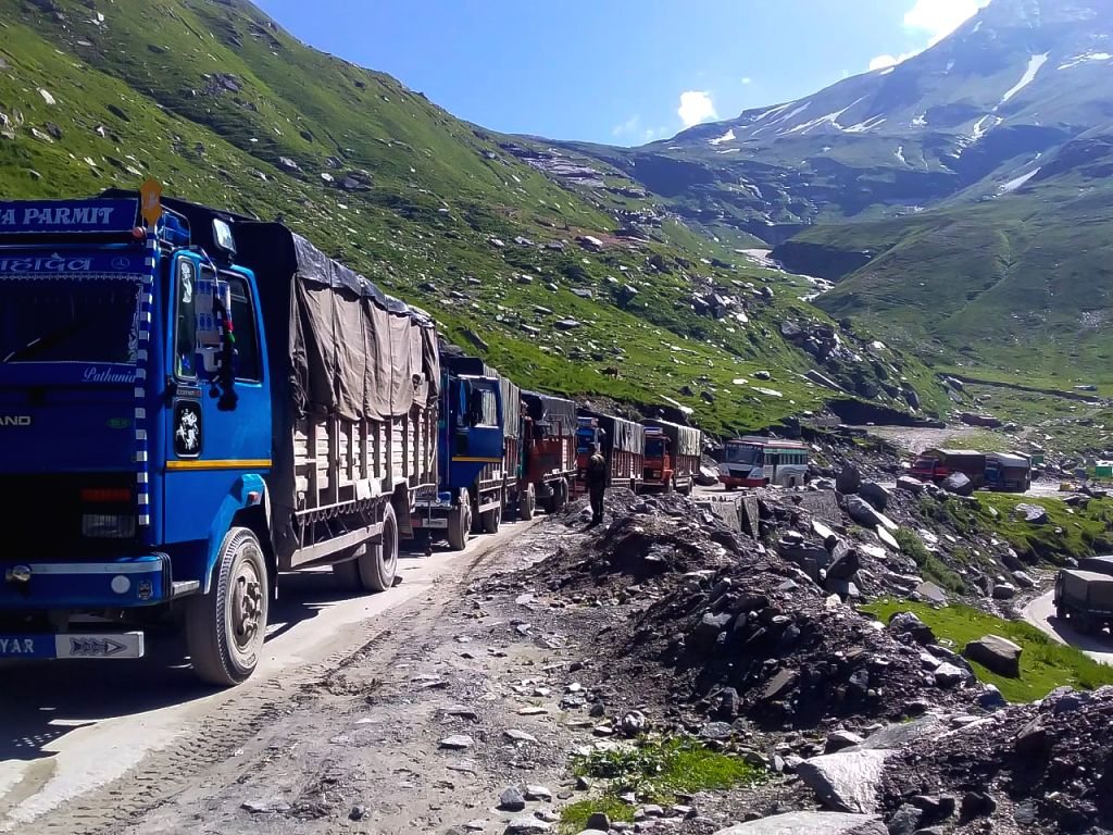 Marji: Vehicles left stranded after a landslide blocked Leh–Manali Highway at Marji near Manali in Himachal Pradesh on Aug 7, 2019. (Photo: IANS)
