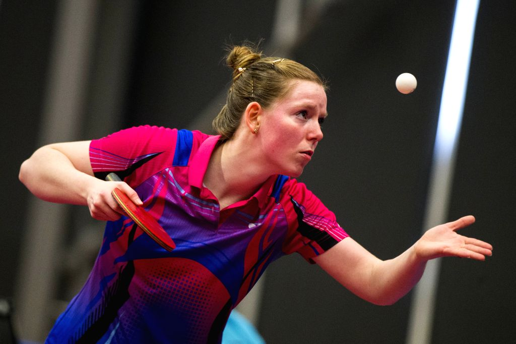 MARKHAM, Dec. 7, 2019 - Britt Eerland of the Netherlands serves to Che Xiaoxi of China during the first round of women's singles match at the 2019 ITTF Chanllenge Plus North American Open in Markham, ...