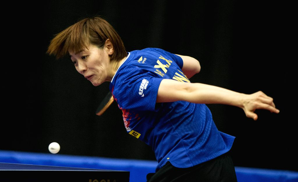 MARKHAM, Dec. 7, 2019 - Che Xiaoxi of China serves to Britt Eerland of the Netherlands during the first round of women's singles match at the 2019 ITTF Chanllenge Plus North American Open in Markham, ...