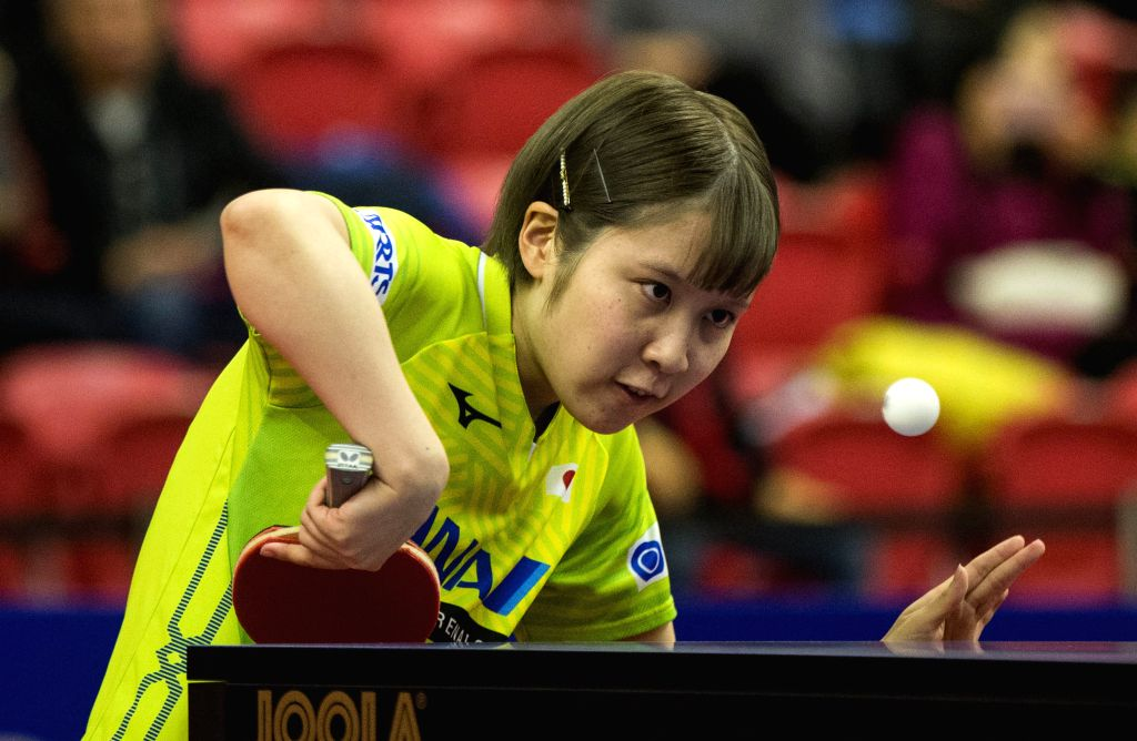MARKHAM, Dec. 7, 2019 - Miu Hirano of Japan serves to Qi Fei of China during the first round of women's singles match at the 2019 ITTF Chanllenge Plus North American Open in Markham, Canada, Dec. 6, ...