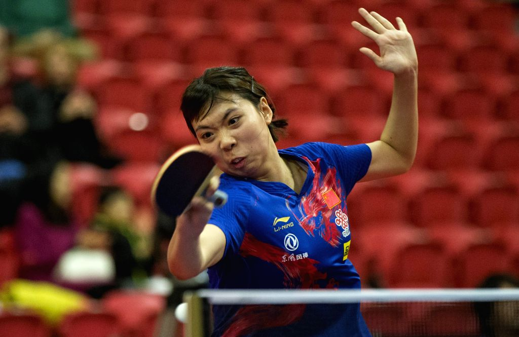 MARKHAM, Dec. 7, 2019 - Qi Fei of China returns the ball to Miu Hirano of Japan during the first round of women's singles match at the 2019 ITTF Chanllenge Plus North American Open in Markham, ...