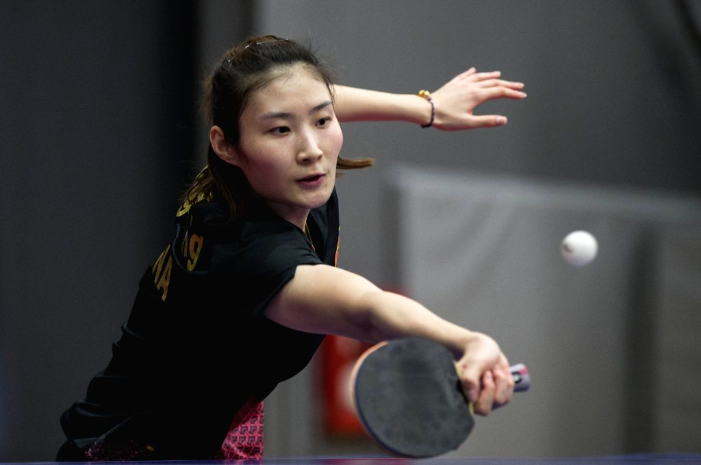 MARKHAM, Dec. 7, 2019 - Yang Huijing of China returns the ball to Saki Shibata of Japan during the first round of women's singles match at the 2019 ITTF Chanllenge Plus North American Open in ...