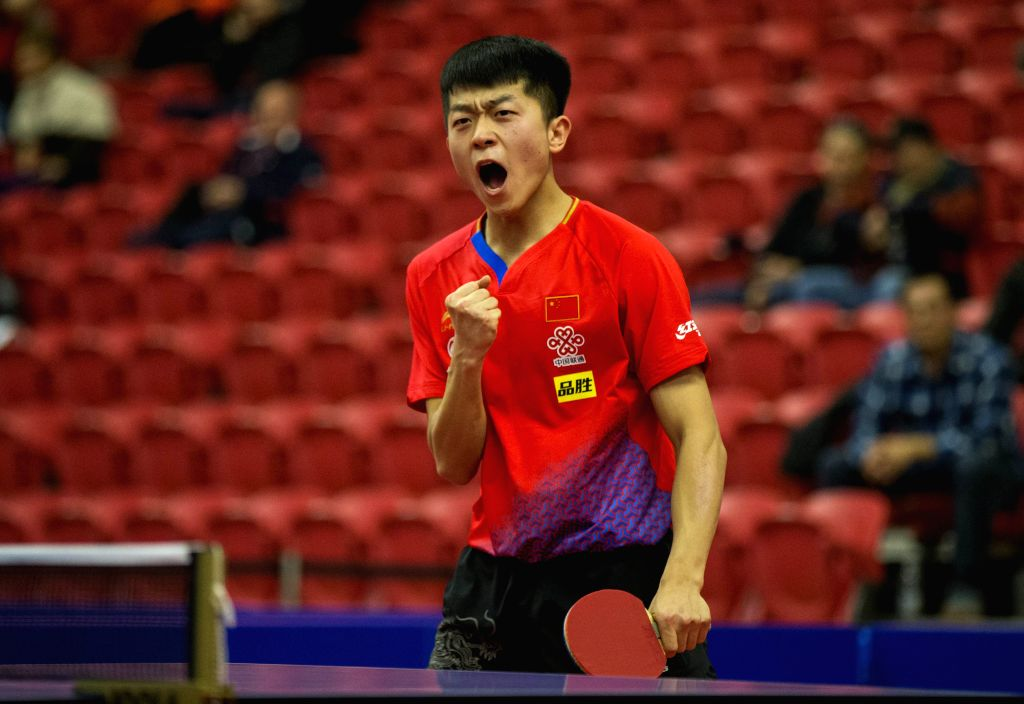 MARKHAM, Dec. 7, 2019 - Yuan Licen of China celebrates during the first round of men's singles match against Emmanuel Lebesson of France at the 2019 ITTF Chanllenge Plus North American Open in ...