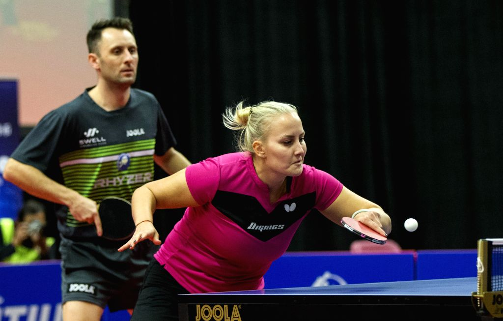 MARKHAM, Dec. 8, 2019 - Lubomir Pistej/Barbora Balazova (R) of Slovakia compete during the mixed doubles final match between Zhao Zhaoyan/Liu Xi of China and Lubomir Pistej/Barbora Balazova of ...