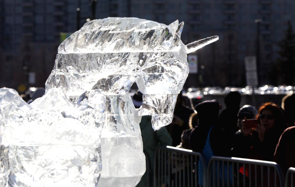 MARKHAM, Feb. 10, 2019 - People look at a unicorn ice sculpture during the 2019 Markham Ice and Snow Festival in Markham, Ontario, Canada, Feb. 9, 2019. Featuring dozens of ice sculptures made by ...