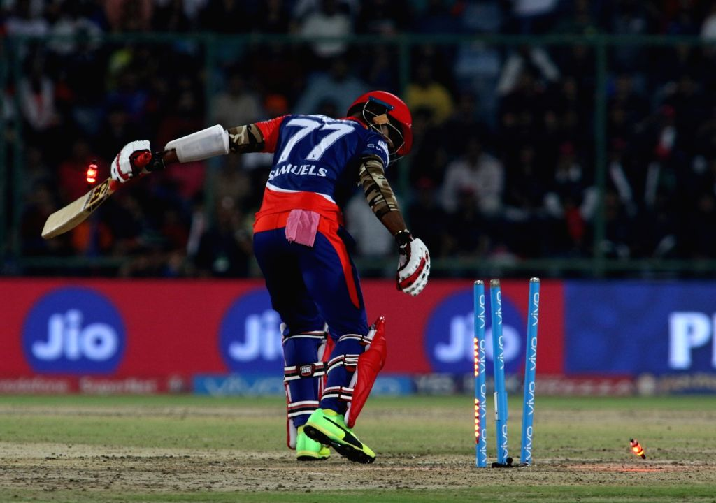 Marlon Samuels of Delhi Daredevils gets dismissed during an IPL 2017 match between Delhi Daredevils and Royal Challengers Bangalore at Feroz Shah Kotla Ground in New Delhi on May 14, 2017.