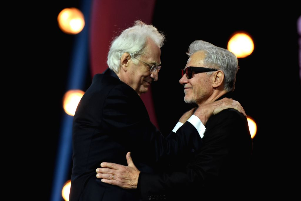 MARRAKECH, Dec. 2, 2019 - Actor Harvey Keitel (R) greets French director Bertrand Tavernier during the tribute to the latter of the 18th Marrakech International Film Festival in Marrakech, Morocco, ... - Harvey Keitel
