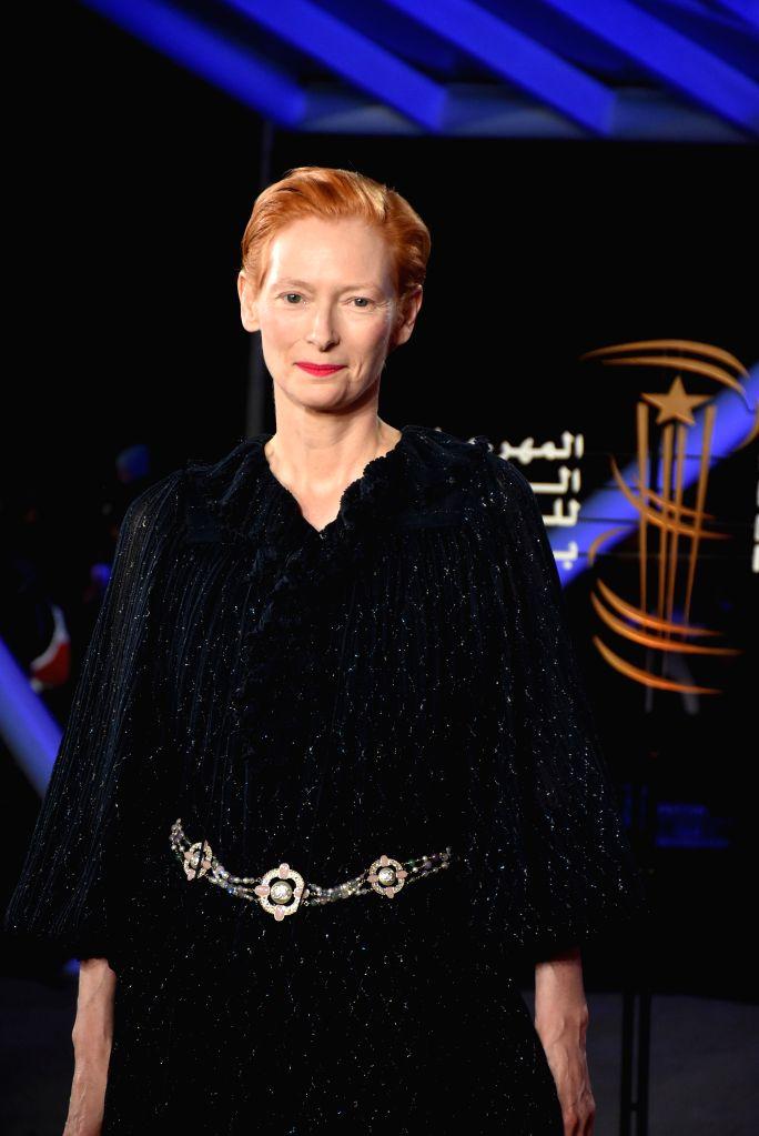 MARRAKECH, Dec. 2, 2019 - Actress Tilda Swinton attends the tribute to French director Bertrand Tavernier during the 18th Marrakech International Film Festival in Marrakech, Morocco, Dec. 1, 2019. - Tilda Swinton