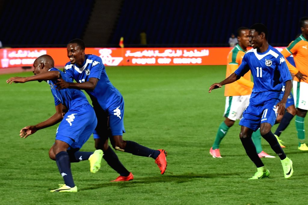 MARRAKECH, Jan. 15, 2018 - Players of Namibia celebrate a goal during their group B match against Cote d'Ivoire in the African Nations Championship in Marrakech, Morocco, Jan. 14, 2018. Namibia won ...
