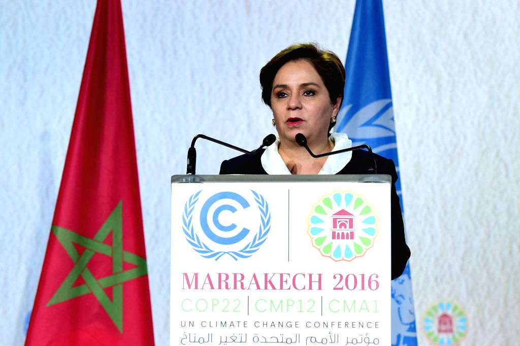 MARRAKECH, Nov. 19, 2016 - Patricia Espinosa, executive secretary of the United Nations Framework Convention on Climate Change (UNFCCC), addresses the closing plenary of the Marrakech Climate ...